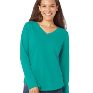 Women's V-Neck French Terry Pullover Thumbnail