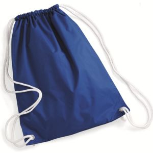Nylon Drawstring Backpack with White Drawcords Thumbnail