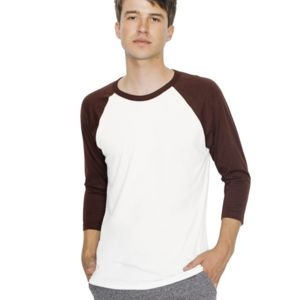 Unisex 50/50 Poly/Cotton Raglan Three-Quarter Sleeve T-Shirt (USA) Thumbnail